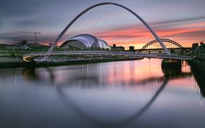 Inghilterra, citt, fiume, ponte, alba