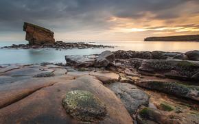 sea, coast, rock, dawn, clouds, calm