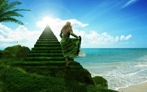 sea, girl, Stairway to Heaven
