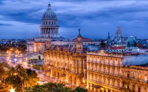 Cuba, Havana, evening, lights