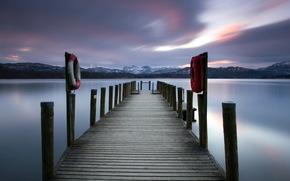 lake, night, bridge