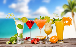 cocktails, Cocktails, Mojito, pina colada, glasses, Umbrellas, tubules, Berries, fruit, citrus, lime, orange, melon, strawberry, summer
