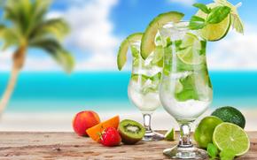 мохито, cocktails, коктейли, бокалы, зонтики, ягоды, фрукты, цитрусы, лайм