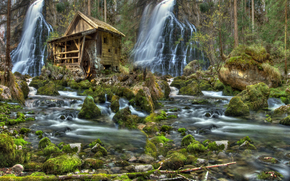 river, forest, waterfalls, water mill, stones, moss, nature, landscape