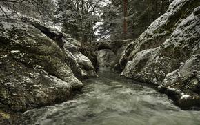 Spain, park, river, flow, bridge, snow