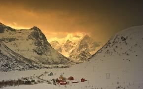 закат, горы, дома, пейзаж