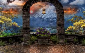3d, art, arch, Mountains, lantern