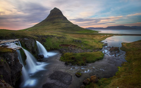 Iceland, sea, bay, river, waterfalls, dawn