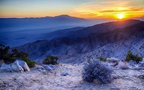 夕日, 山地, 風景