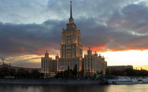 Moscow, sky, Hotel Ukraine, clouds