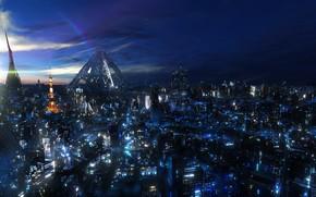 鉴于城市, 高度, 夜城, 灯火