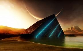 piramide, pianeta, Luci al neon