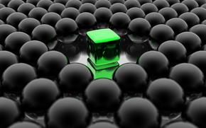pelota, Cubo, verde