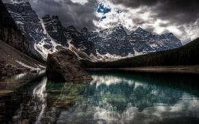 landscape, Mountains, reflection, clouds