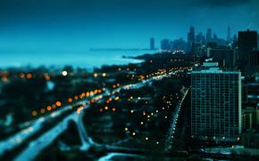 city, macro, evening, lights, height
