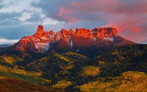 sunset, nature, landscape, Mountains