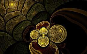 фрактал, золото, фон