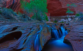 сша, Ущелье Койота в Южной Юте, скалы, водопад