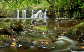 river, waterfall, stones, nature, landscape