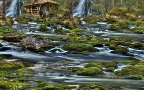 waterfalls, river, mill, stones, moss, landscape