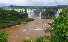 waterfalls, Brazil, River, landscape, iguazu, nature