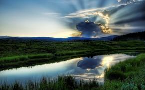 река, озеро, вода, зелень, небо, пейзаж