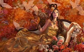 regina, Uccelli, fiori