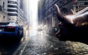 lamborghini, aventador, street, bull,