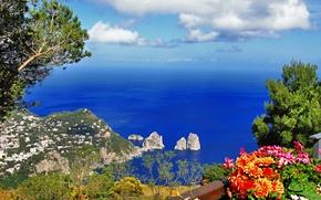anacapri, Provincia di Napoli, capri, Italia, Anacapri, citt, Capri, isola, Napoli, provincia, Italia, Tirreno, mare, Rocks, natura, tderevya, verdura, tsvey, paesaggio, Montagne, cielo
