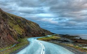 Roads, asphalt, Strips, clouds, hdr, nature
