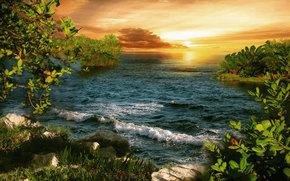 sunset, sea, landscape