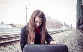 девушка, поезд, чемодан, поездка, заглядывает, кино, красиво, рельсы