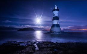 море, ночь, луна, маяк