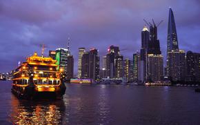 Shanghai, notte, casa, acqua, nave, semaforo