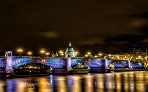 Londres, Inglaterra, Gran Bretaa, Southwark Bridge, st. catedral de paul, Londres, Inglaterra, Reino Unido, Catedral de San Pablo, puente, luces, iluminacin, reflexin, ro, Thames, Ciudad, noche