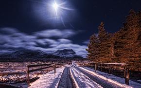 горы, дорога, ночь, звезды, луна