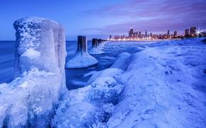 Chicago, noche, luces, invierno, nieve, hielo