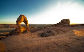 Delicate Arch, Utah, tramonto, Arches National Park, Stati Uniti d'America, canyon, rock, tramonto