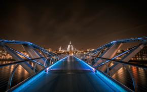 notte, citt, ponte, controluce, Londra