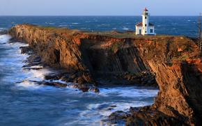cape arago lighthouse, маяк, побережье, скалы, Тихий океан, океан