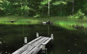 пруд, мостик, лес, природа