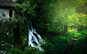foresta, natura, edificio, cascata, paesaggio