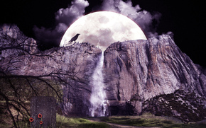 moon, Mountains, waterfall, crow, landscape