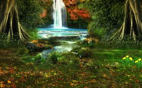 водопад, деревья, растительность, природа, пейзаж
