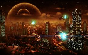 город, космос, 3d, art
