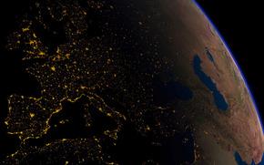 planet w nocy, wiata miasta, zobaczy z kosmosu
