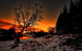 sunset, river, snow, landscape