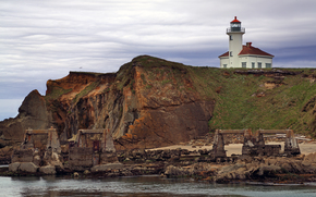 США, Штат Орегон, Округ Кус, usa, state of oregon, coos county, cape arago state park, cape arago lighthouse