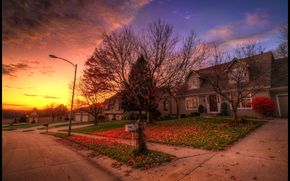 autumn, suburb, road, home, the urban landscape