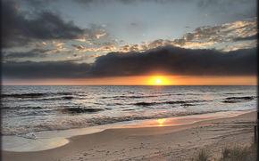 sunset, sea, coast, landscape